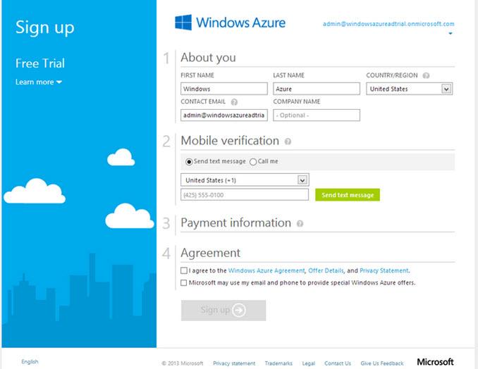 đăng kí windows azure miễn phí