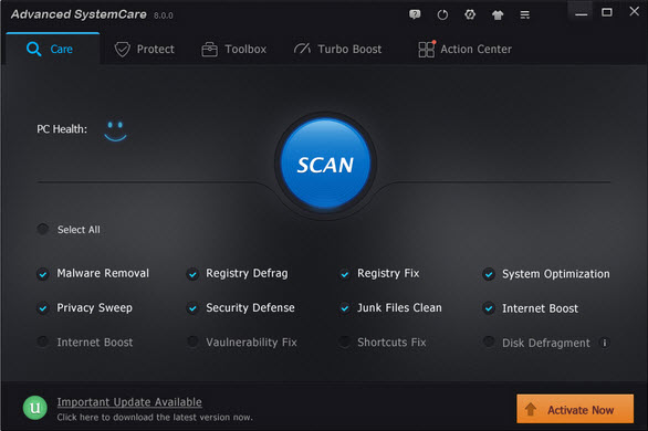 hệ thống tối Advanced Systemcare 8