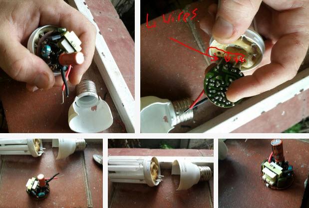 cắt dây đèn compact