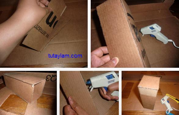 cắt và gắn hộp giấy