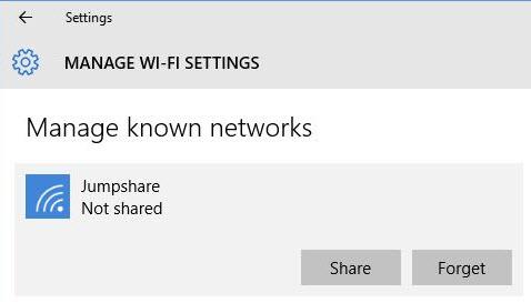 mạng WiFi đã lưu trên Windows 10
