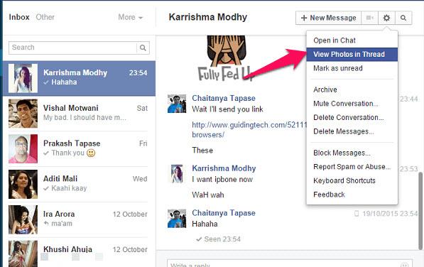 xem lai hinh anh facebook messenger