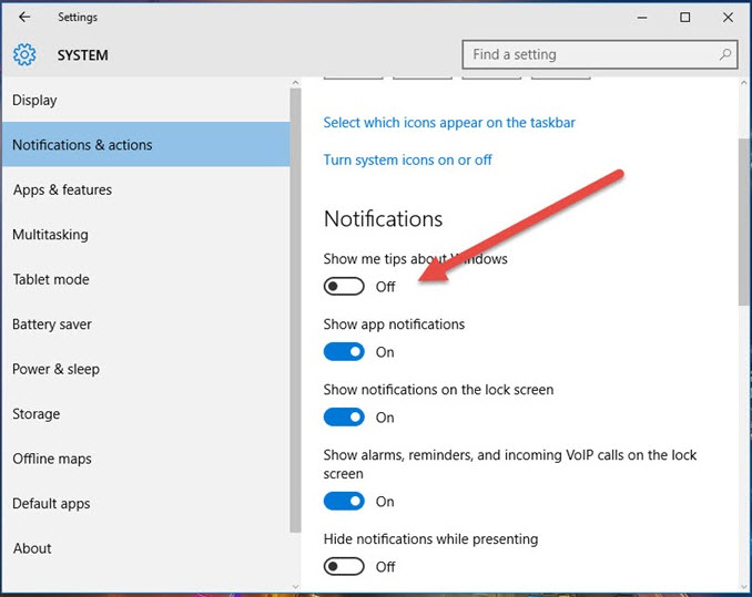 Tắt tính năng Windows 10 Tips
