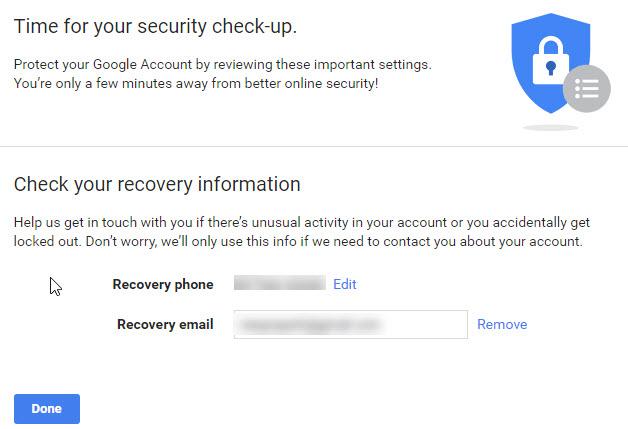 Thiết lập phục hồi email