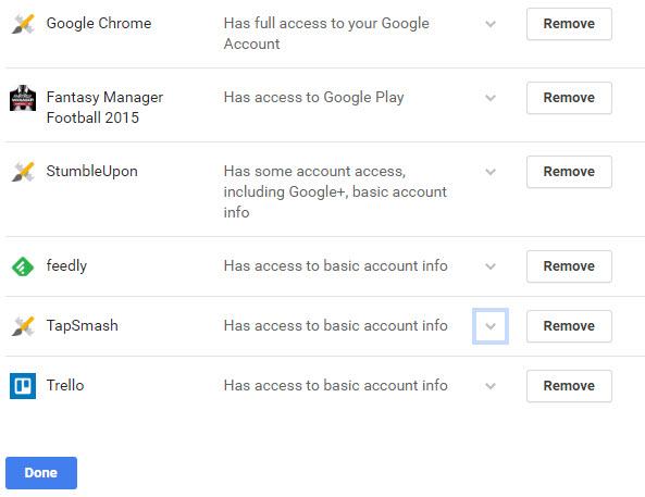 cấp phép truy cập vào tài khoản Google