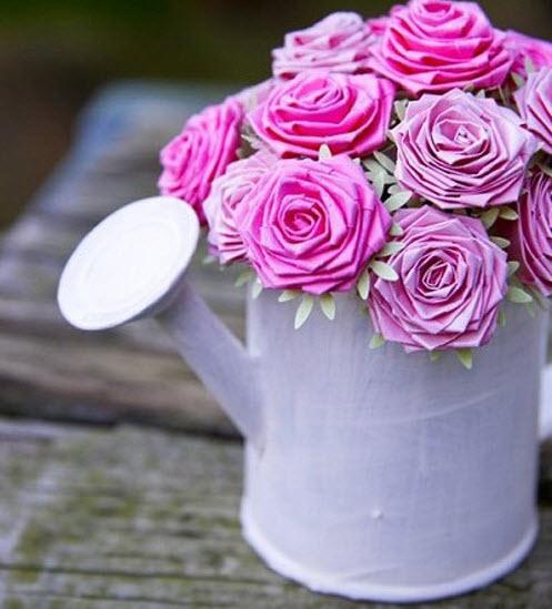 gấp hoa hồng giấy