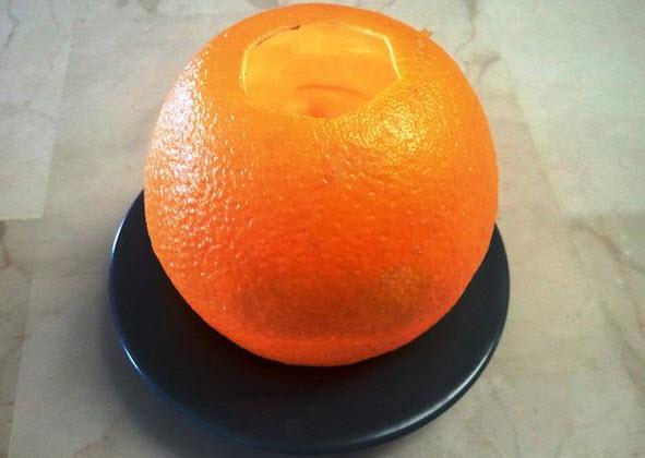 Làm nến từ vỏ cam