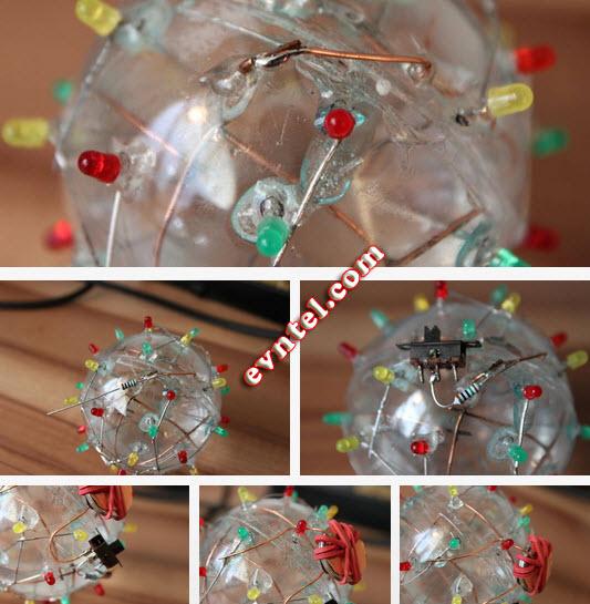 quả bóng đèn LED nháy sáng với nước muối mặn