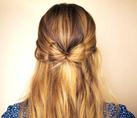 tết tóc nơ bướm đơn giản