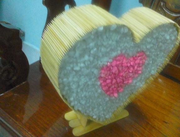 làm quà tặng hình trái tim bằng tâm tre