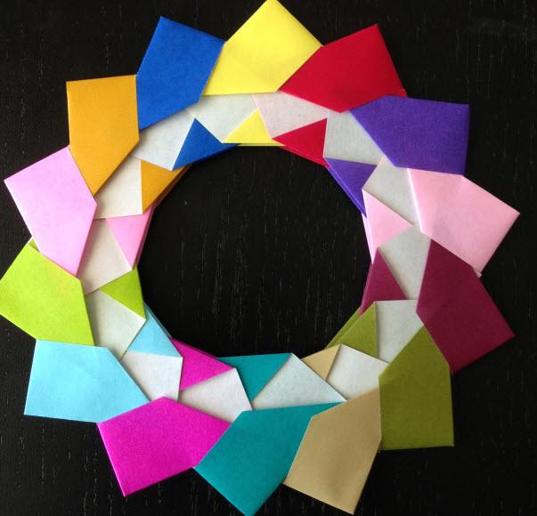 vòng hoa Origami đơn giản