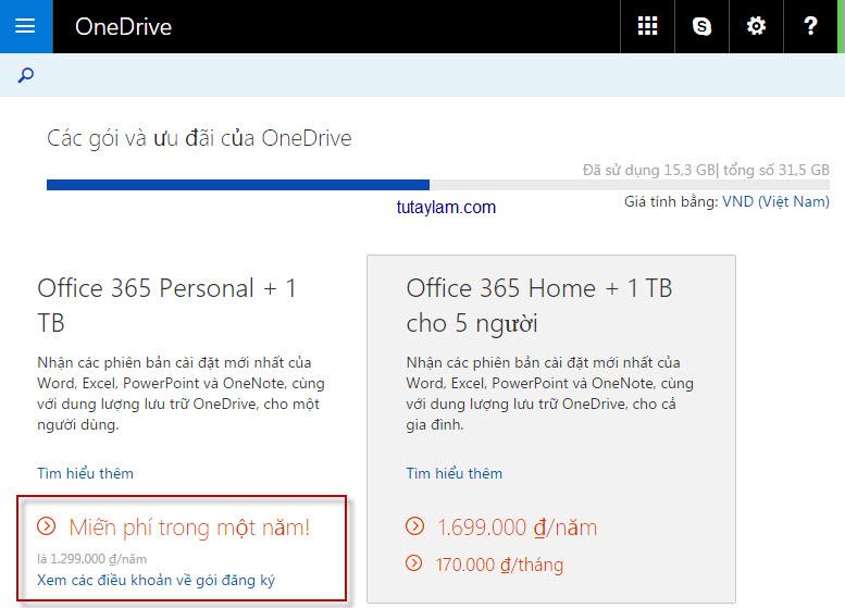 nhận 1TB OneDrive và Office 365 miễn phí từ Microsoft