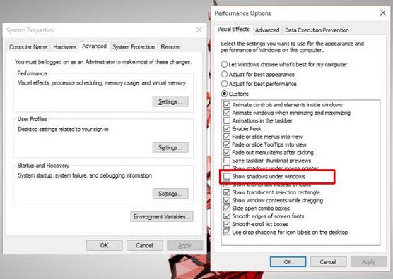 tắt hiệu ứng đổ bóng trên Windows 10
