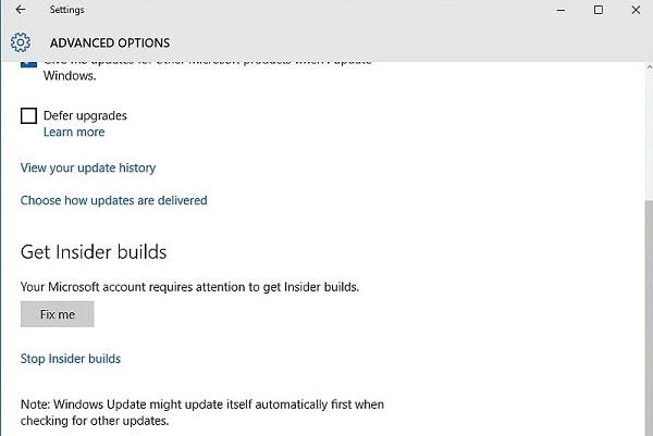sự cố không cập nhật được Windows 10