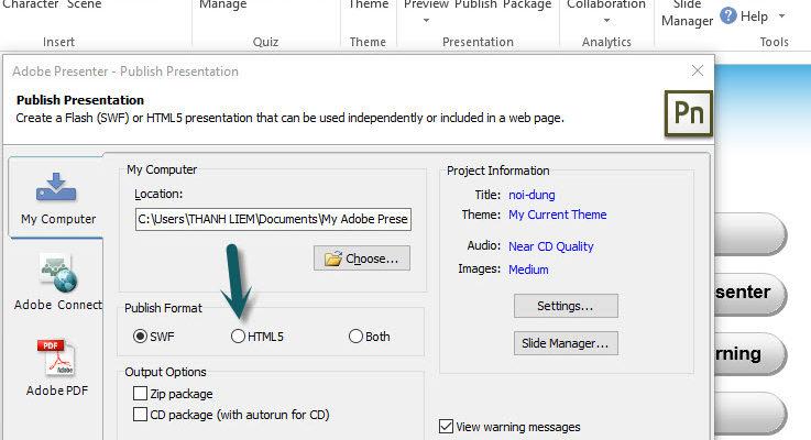 Cách khắc phục lỗi xuất bản bài giảng trong Adobe Presenter