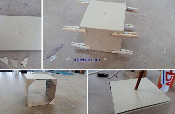 làm cỗ máy đồ chơi đơn giản với giấy các tông