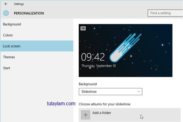 trình diễn ảnh trên màn hình khóa của Windows 10