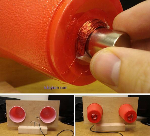 quấn loa mini với dây đồng và ly nhựa