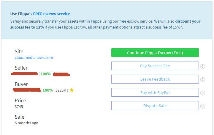 bán được site với giá cao trên Flippa