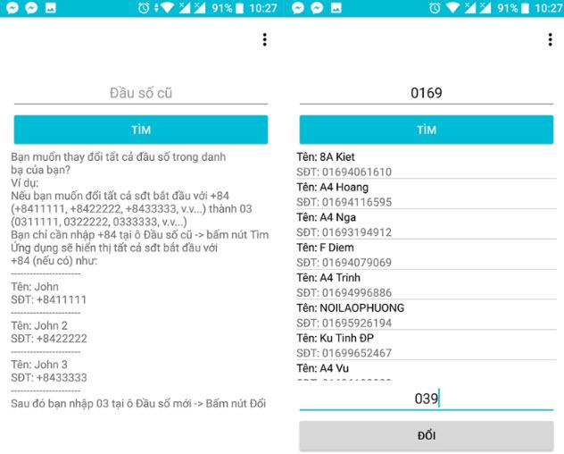 chuyển đổi điện thoại 11 số sang 10 số dành cho android