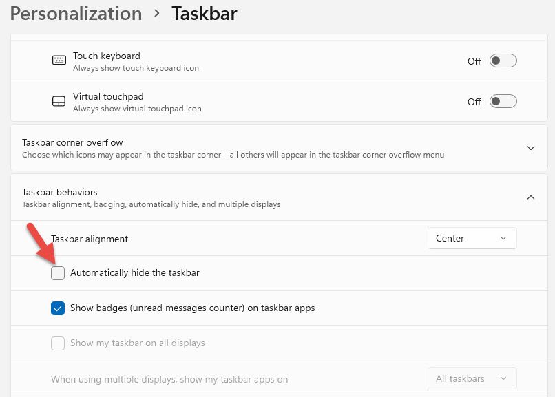 Cách ẩn thanh Taskbar trên Windows 11