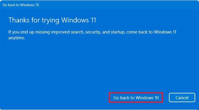 các bước hạ cấp Windows 11 về Windows 10